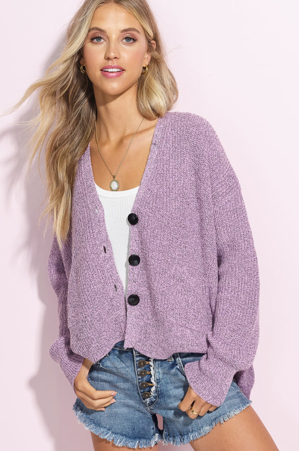 Hailey Lavender Hi-Low Button Up Cardi