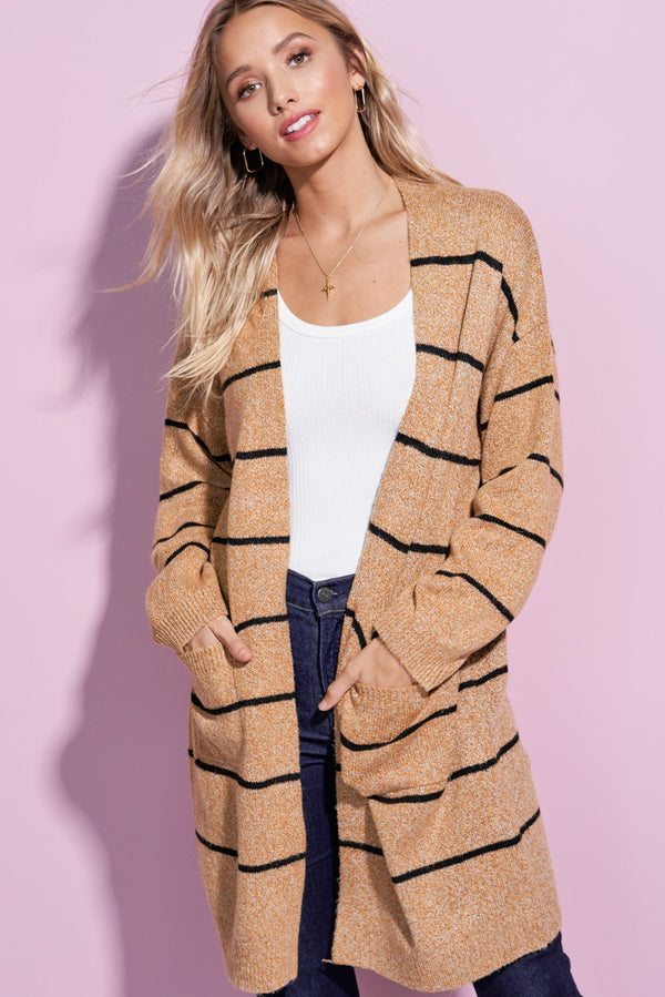 Charlotte Camel Brown Striped Open Front Cardi