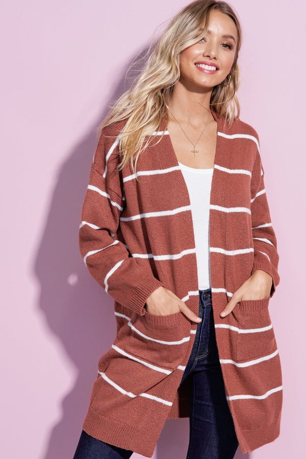 Charlotte Marsala Red Striped Open Front Cardi