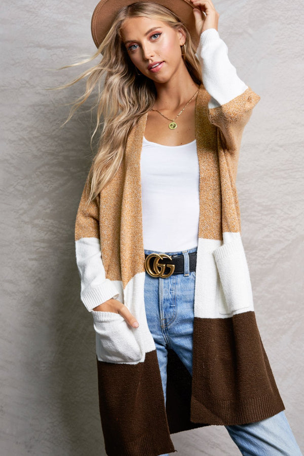 Serena Camel Brown Color Block Cardigan