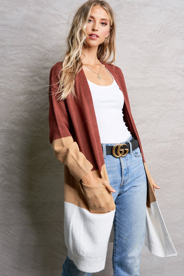 Serena Marsala Red Color Block Cardigan