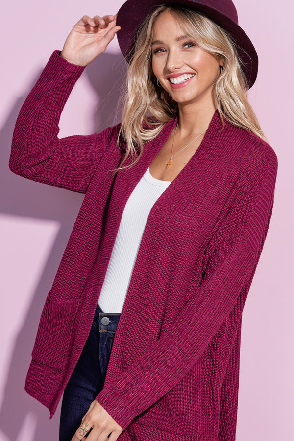 Harper Berry Red Lightweight Knit Cardi