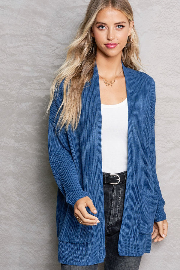 Harper Teal Blue Lightweight Knit Cardi