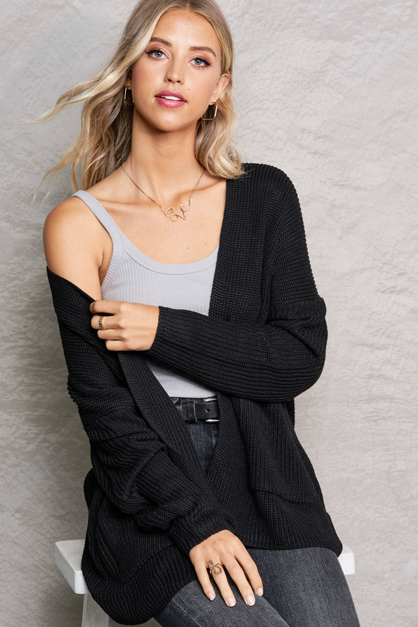 Harper Black Lightweight Knit Cardi
