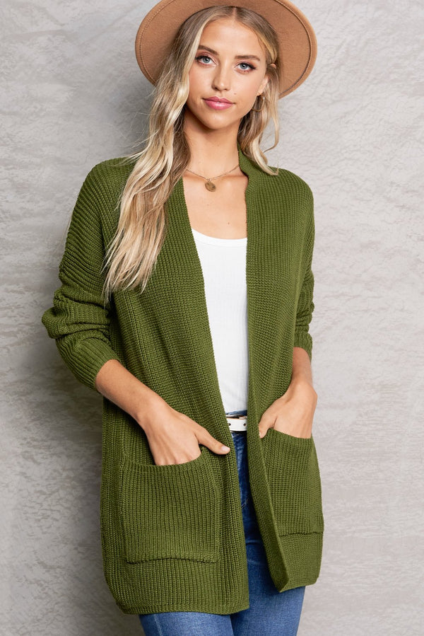 Harper Olive Green Lightweight Knit Cardigan