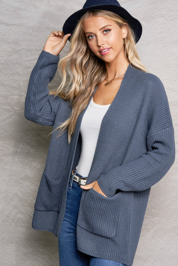 Harper Smoke Grey Lightweight Knit Cardi
