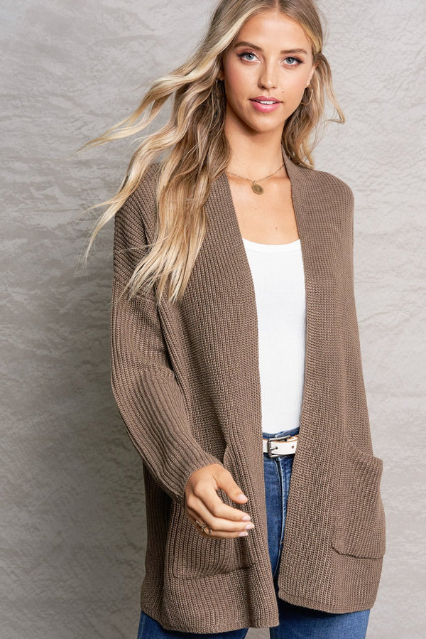Harper Mocha Brown Lightweight Knit Cardi