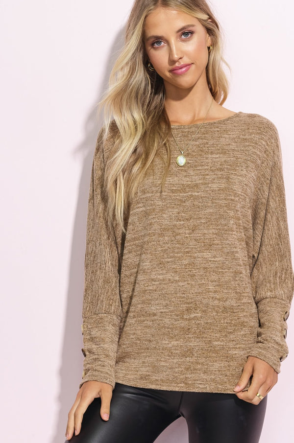 Camel Brown Button Sleeve Tunic Top