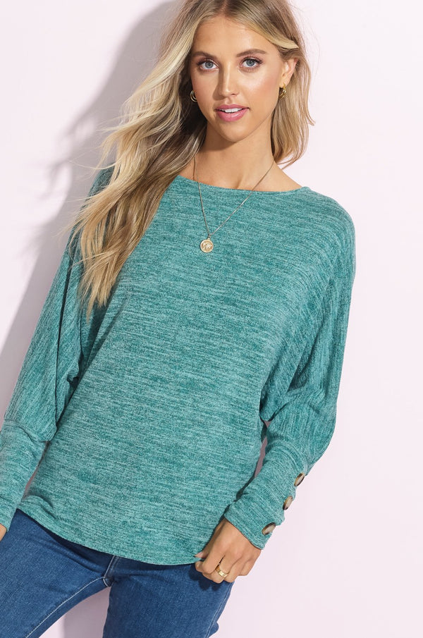 Teal Button Sleeve Tunic Top
