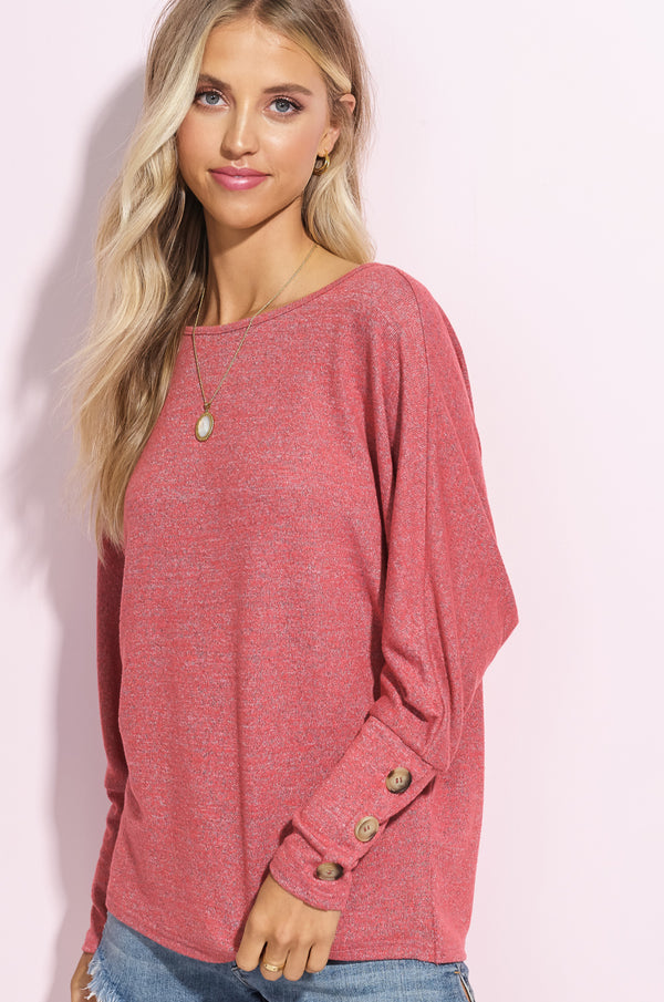 Tomato Red Button Sleeve Tunic Top