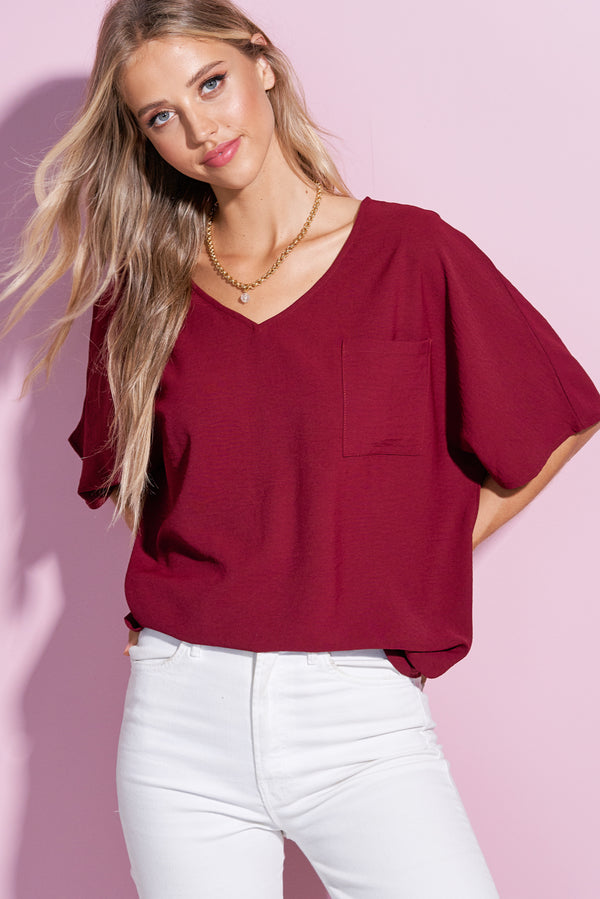 Iris Plum Red V Neck Crumble Flare Tee
