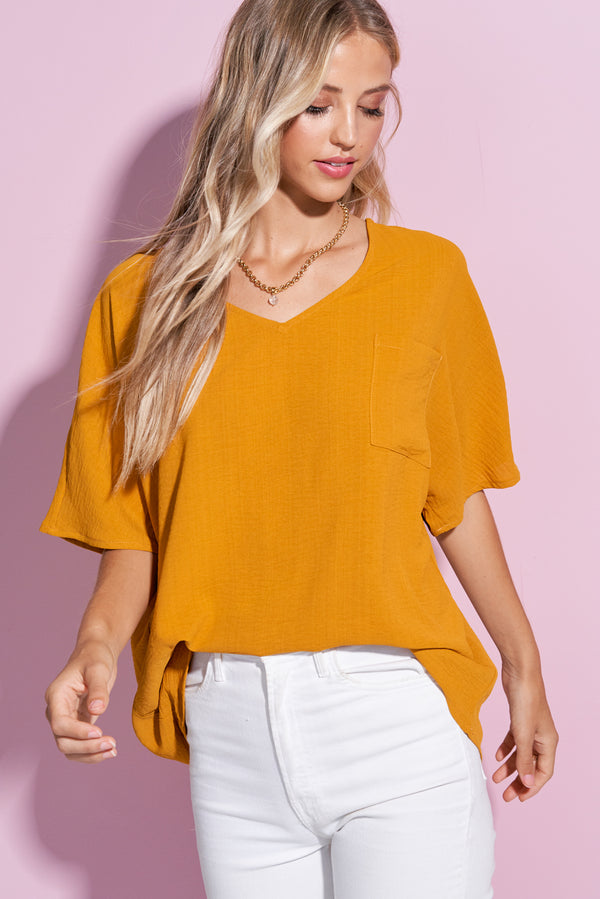 Iris Mustard Yellow V Neck Crumble Flare Tee