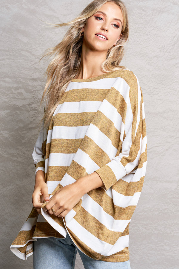 Dijon Soft Bold Stripe Pullover Sweater