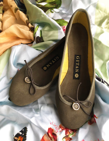 Olive and lime green suede ballerina pumps shoes