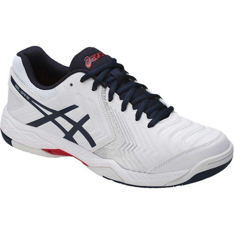 Asics Gel Game 6 E705Y White/Blue-Outdoor Shoes-Le Coin Badminton | Pickleball | Tennis