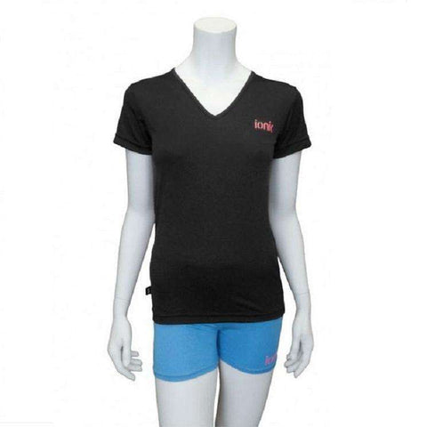 Ionik T-shirt 1252T Black/Pink Logo-Women Apparel-Le Coin Badminton | Pickleball | Tennis