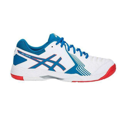 Jeu de gel Asics 6 E705Y Blanc / Race Bleu-Chaussures de Plein Air-Le Coin Badminton | Pickleball | Tennis