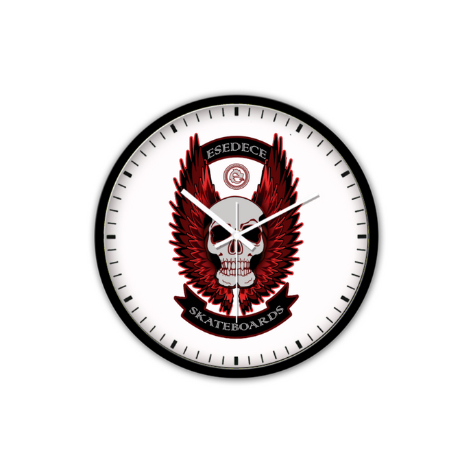 SILENT WALL CLOCK WITHOUT TICKING WINGED SKULL - Esedece skateboards