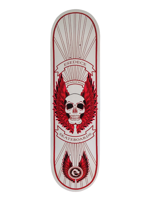 SKATE DECK WHITE WINGED SKULL - Esedece skateboards