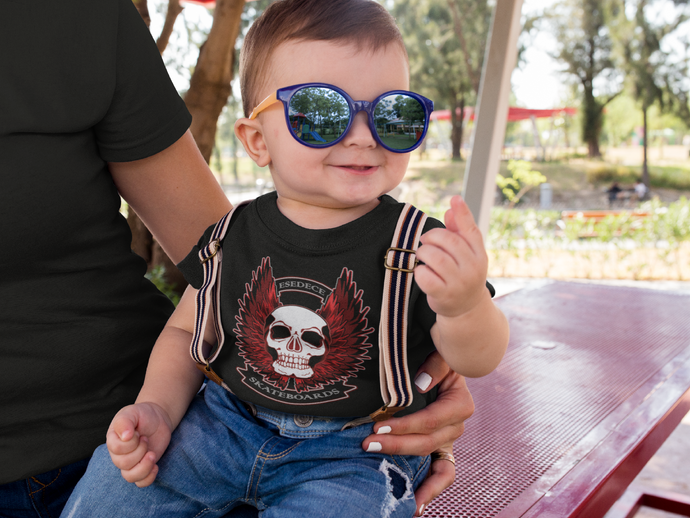 WINGED SKULL BABY T-SHIRT - Esedece skateboards