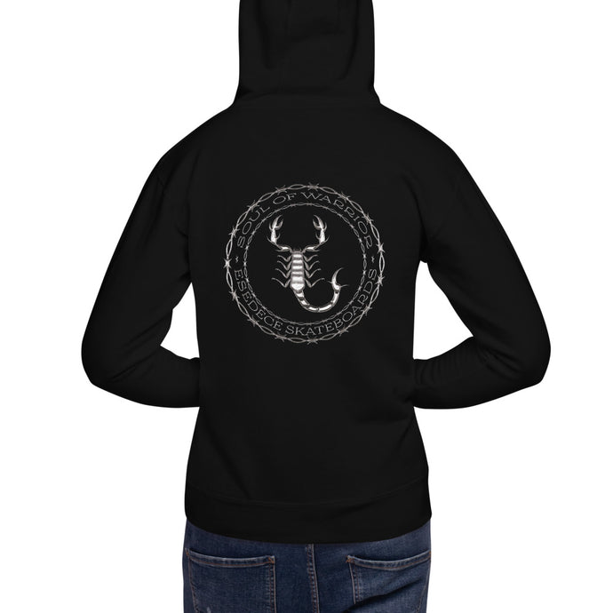 BLACK SCORPION UNISEX COTTON HOODIE - Esedece skateboards