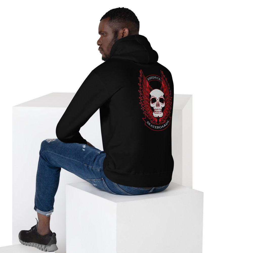 WINGED SKULL COTTON UNISEX HOODIE - Esedece skateboards