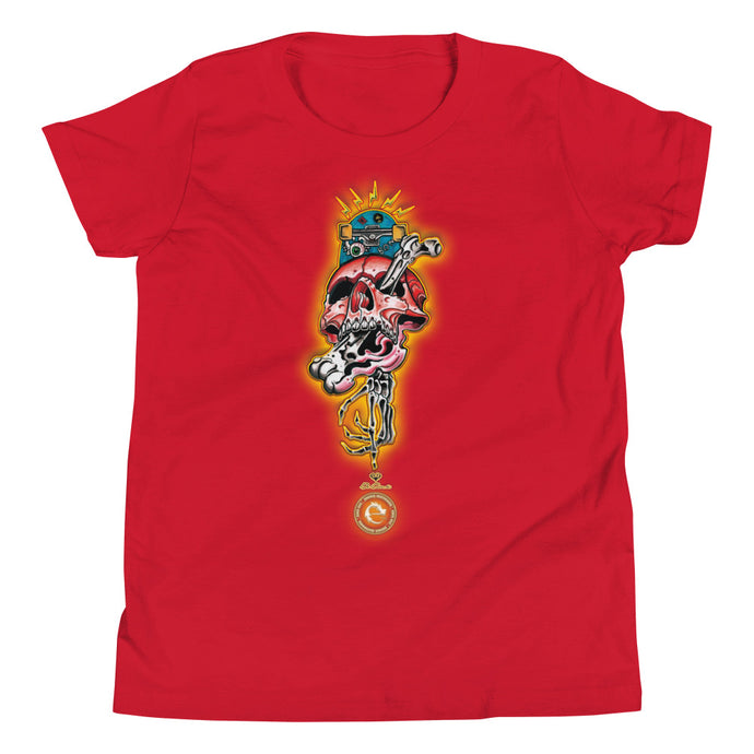 CRAZY SKULL COTTON KIDS´S TEE - Esedece skateboards