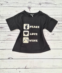 "PAOLA TIENFORTI T-shirt nera ""peace/love/wine"""
