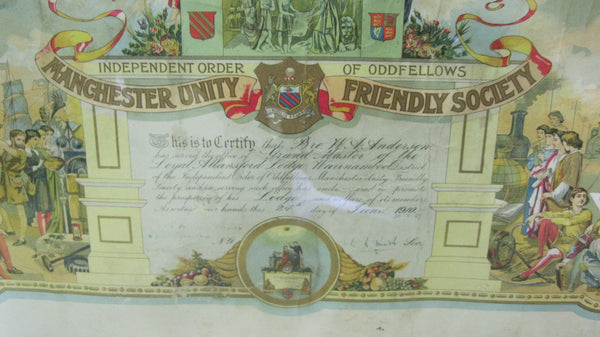 Large 1910 Manchester Unity Framed Certificate .