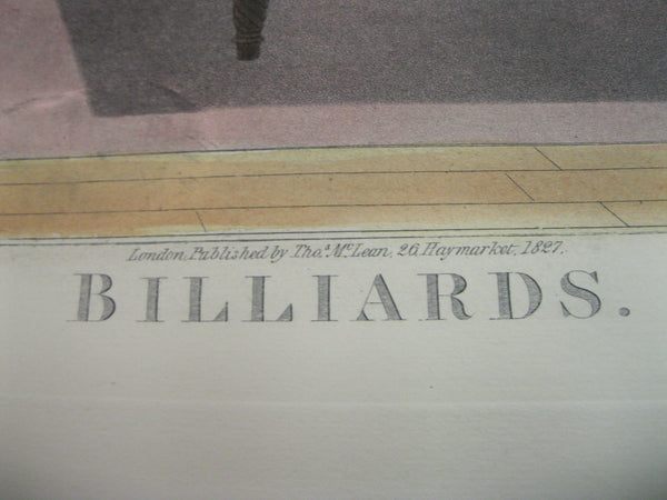Original 1827 Billiards Etching