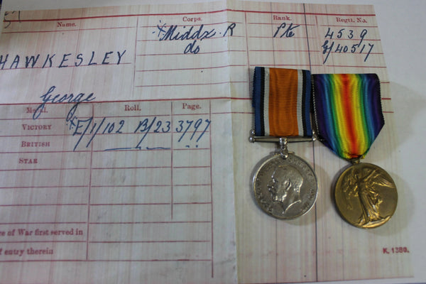 WW1 - British Middlesex Regiment Medal Pair