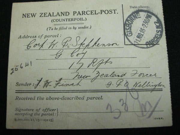WW1 - NZ - Parcel Counterfoil .