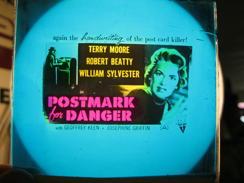 1956 - Postmark For Danger Movie Glass Slide