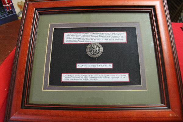 WW1 - Framed Silver War Badge