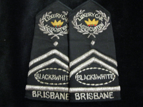 Black & White Brisbane Cabs Epaulette Pair
