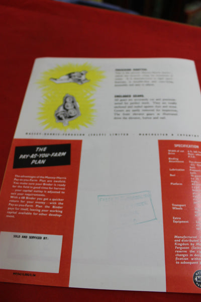 Massey - Harris Sunshine 6B Binder Pamphlet