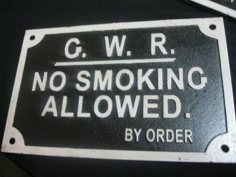 GWR - Cast Iron No Smoking Sign