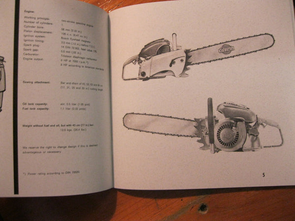 Reprint - 1960 Stihl Chain Saw Instruction  Book