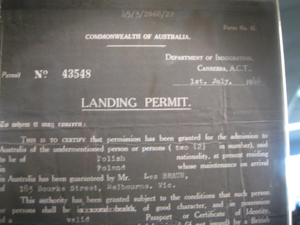 1946 - Australian Immigration Glass Slide  Landing Permit