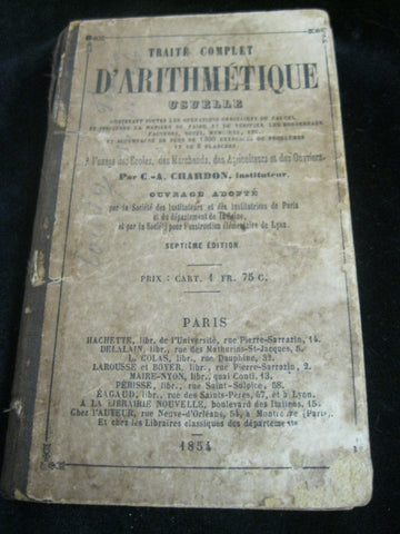 1855 - French Arithmetic Book