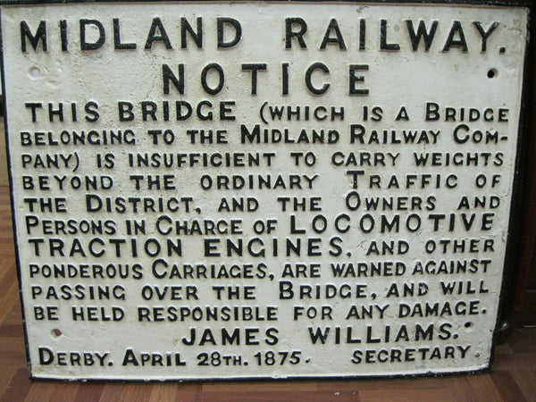 Large Midland Railway Cast Iron Sign.