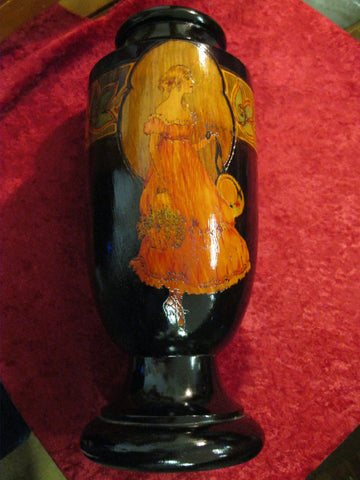 Art Deco -  Pokerwork Vase