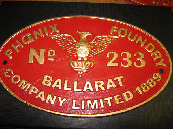 Phoenix Foundry Ballarat Cast Iron Plaque .