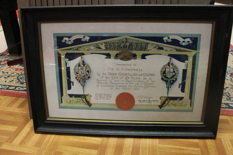 1915 - Lithographed  Service Appreciation Certificate