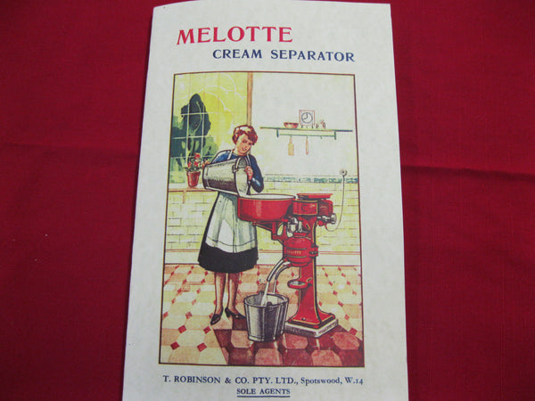 "Private Re-print  - ""Melotte Cream Separator' Catalogue"