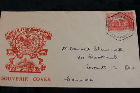 1938 - Australia's 150th Anniversary Cover
