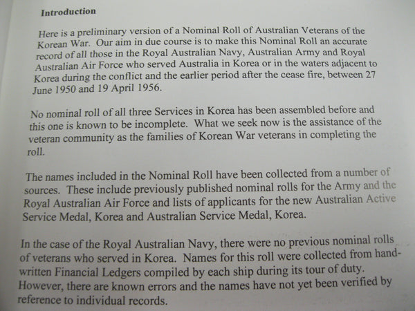 Nominal Roll of Australian Veterans of the Korean War