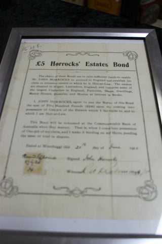 Scarce  -  1924 Horrock's Estates Bond