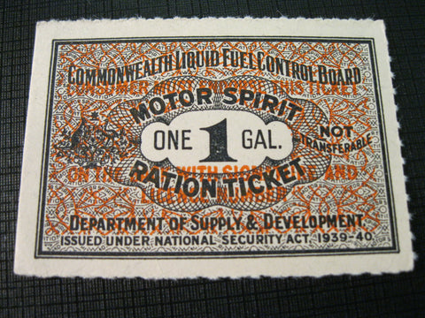 1939-1940 - One Gallon Ration Ticket