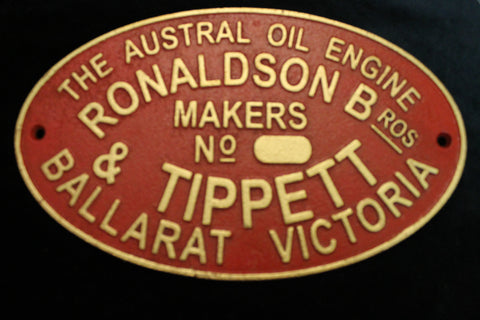 Ronaldson & Tippett Makers Plate